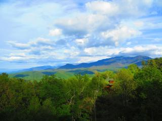 Safe from fire! WOW Mountain Views, 2 Kings+, WIFI,  Hot Tub & Covered Decks!, Gatlinburg