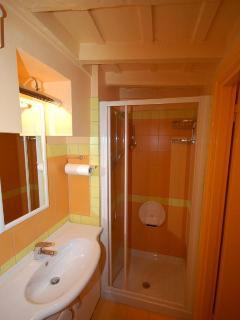 Bathroom suites: cabinet with sink, toilet, bidet, large shower