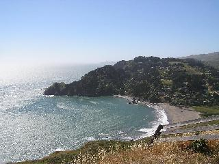 Looking back on Muir Beach from hillside hike