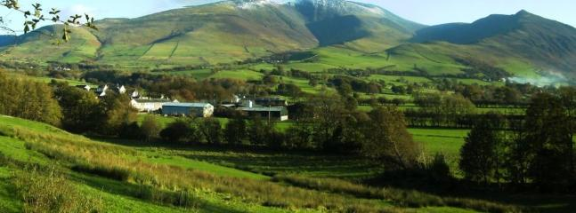 Skiddaw mountain behind the village