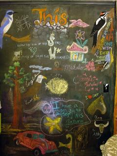 the chalkboard wall in the kitchen