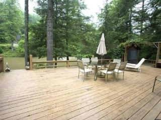 RIVERDANCE-- 3BR/2BA CABIN ON THE TOCCOA RIVER, GAZEBO OVERLOOKING THE TOCCOA RIVER, CLOSE TO RUSTIC RIVER LODGE, GAS GRILL, HOT TUB, GAS LOG FIREPLACE, FIRE PIT, SLEEPS 7, STARTING AT $165/NIGHT!, Blue Ridge