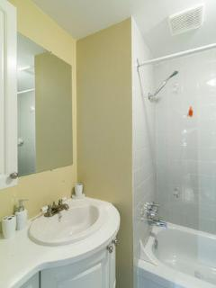 second bathroom with bath/shower + toilet