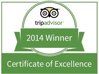 This honor is awarded to establishments that achieve outstanding traveler reviews on TripAdvisor.