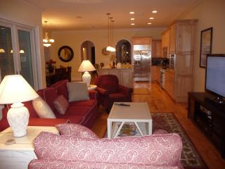 Overview of living room and kitchen and dining