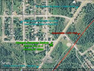 Aerial photo showing location along US Hwy 41; proximity to main trail and to Five Mile Point Road