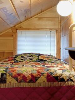 Twin Bunk Overlooking Living Room-Duplex Cabin