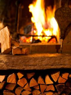 Lovely big open log fireplace