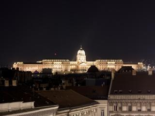 Real night view from the living room: the Buda Castle
