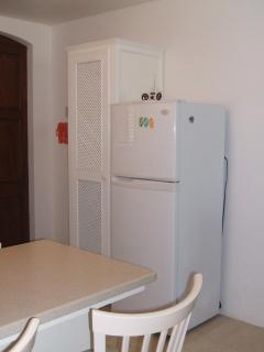 Kitchen view 3:  fridge/freezer and pantry