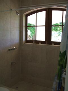 Huge  walk-in shower!!  Has it's own window! overlooking the back gardens!