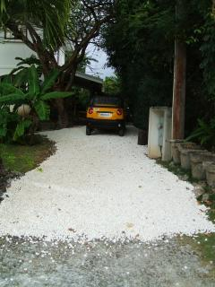Private parking spot for rental car.Preferred car rental agency for the apt., delivers it to the apt