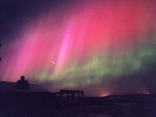 Spectacular red aurora with shooting star. Looking south east from our place.