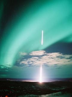 Research Rocket being fired into the aurora from Poker Flat 10 miles north of us.