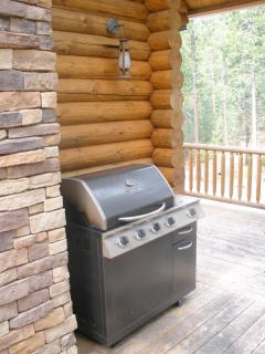 Propane grill on the side deck