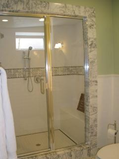 Large shower with two shower heads...and endless hot water