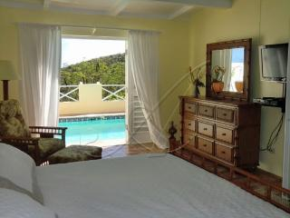 Master bedroom suite with french doors to the deck and view