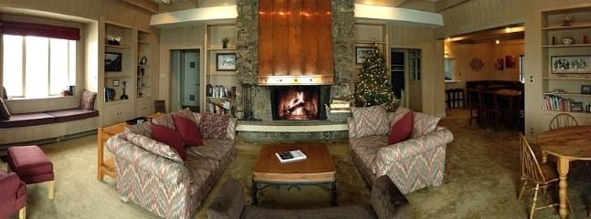 Living Room: wood fireplace, oversize windows highlighting the views, and deck w/gas grill & firepit