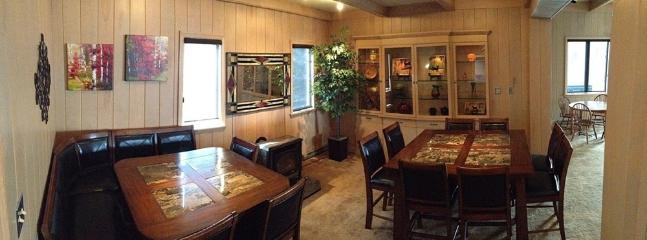 The Dining Room serves 16 with additional seating for 8 more in adjacent rooms.