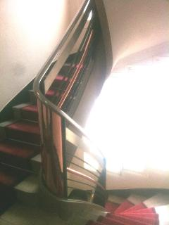 Staircase. Th apartment is located on the 2nd floor with an elevator