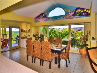 Dining Room Seats 8, Wet Bar at Door Leading to Lanai. Original Mural.