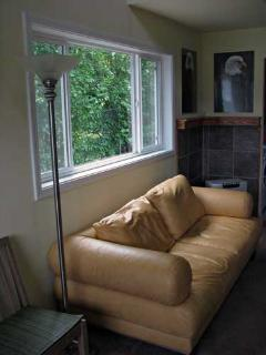 comfy leather couch, host photography