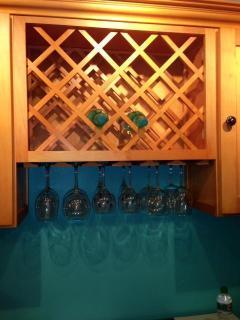 Whimsical Wine Rack Plus Five Different Sets of Wine Glasses!