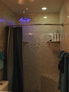 High Tech, LED Rainfall Shower That Changes Color With the Water Temperature! Blue, Green, Red, WOW!