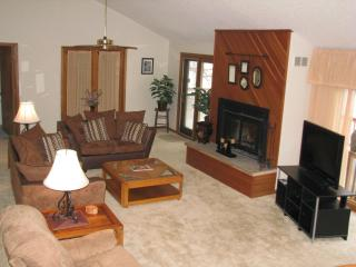 Living Room - Main Level with Flat Screen TV, Fireplace, doors to upper Deck