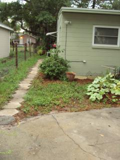 Outside parking spot and pathway to rental