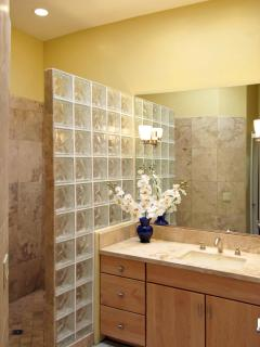Tucson Paradise master bath boasts extra large shower for you to luxuriate in, lrg closet & sep wc