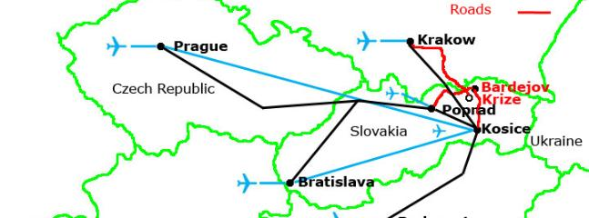 Travel map, airports and trains