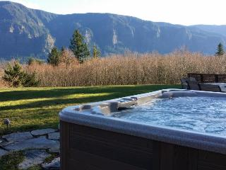 A private hot tub, stone patio & firepit with stunning Columbia Gorge views!, Stevenson
