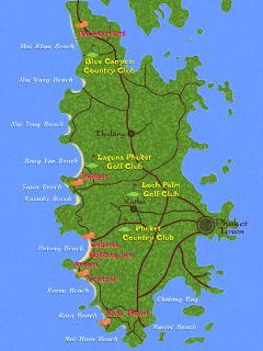 Golf Club Map Showing Surin Beach