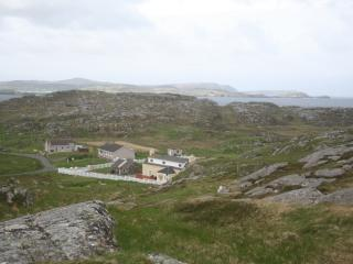 Looking down on Seaview House from the Valasay to Bosta walk route