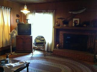 Living has Yellow Birch Lake view, TV with converter, fireplace & sleeper sofa