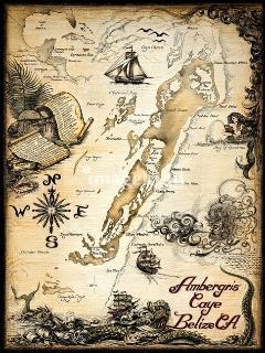 'Ambergris Caye, Belize Nautical Chart' by Savanna Redman