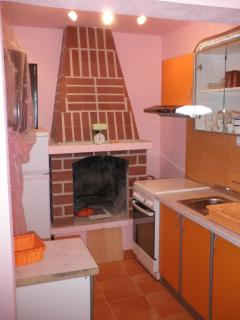 interior fireplace in the kitchen