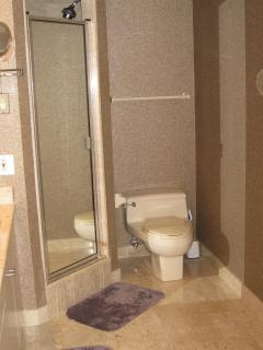 The master bath also has a roomy shower stall