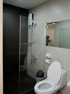 toilet and bath enclosed in tempered glass