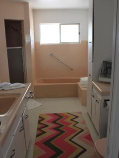Guest bathroom with separate shower and large bathtub and tiled seat.  Beautiful original tile work.