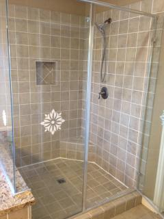 Master bath glass shower enclosure