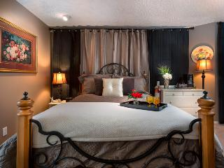 Sleep in your romantic four poster bed with plush duvet- even a soft throw to snuggle up in!