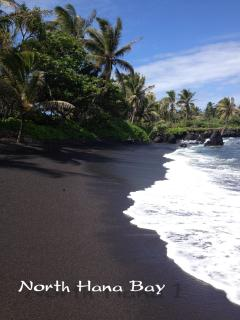 Beautiful Black Sand of North Hana Bay