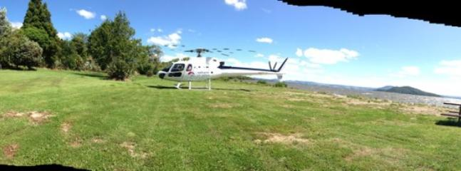 Helicopter landing to take guest to White Island,