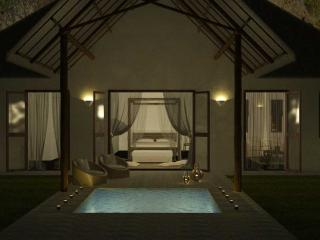 Private plunge pool at night