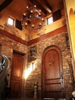 Vaulted stone tower entry foyer