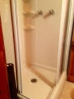 Shower was been freshly caulked and steam cleaned.