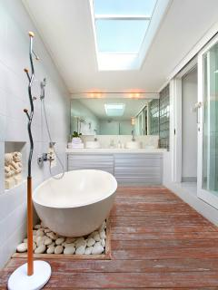 Beautiful bathroom with full size tub and seperate shower