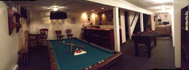 Basement: Foosball table, movie chair area, pool table and dry bar